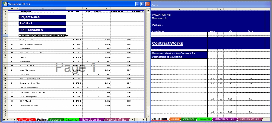 Construction Valuation Template, Builders, Sub Contractors, Uk,