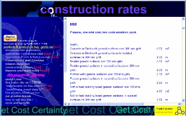 Construction Rates Data Screen (c) TM - Free Specs, Rates & Specialists Details